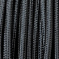 Electrical Round Cable 2X o 3X 50 meters in Fabric Black