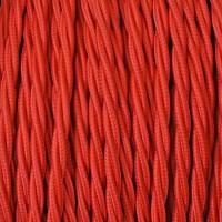Cavo Elettrico 2X o 3X 50 metri Treccia in Tessuto Colore Rosso