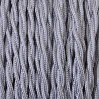 Cavo Elettrico 2X o 3X 50 metri Treccia in Tessuto Colore Argento