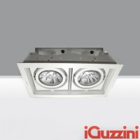 iGuzzini 2960.001 Deep Frame Minimal White double recessed light 2x75W E27