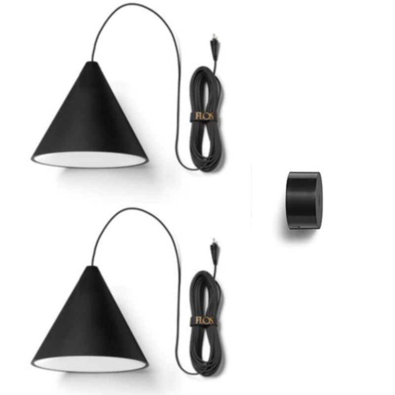 Flos String Light Cone Head 2 Light Points Suspension Pendant Lamp LED with Wallrose ...
