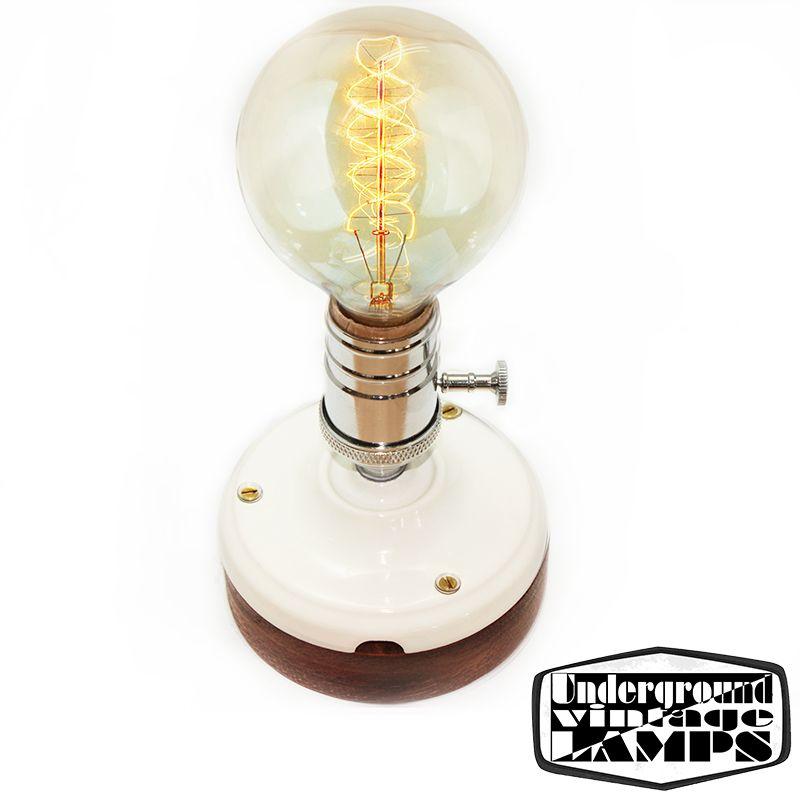 Lampada da Tavolo Artigianale E27 Bianco/Cromo Ceramica e Legno - Diffusione Luce srl