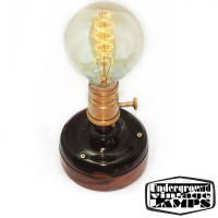 Lampada da Tavolo Artigianale E27 Nero/Oro Ceramica e Legno