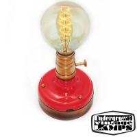 Lampada da Tavolo Artigianale E27 Rosso/Oro Ceramica e Legno