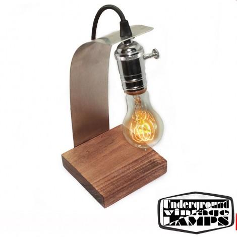 Lampada da tavolo artigianale virgola e27 cromo e legno - Lampada da tavolo artigianale ...