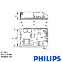Philips electronic ballast open hid-pv c 70 /p cdm 9137 006 41 for discharge lamps 70w metal halide
