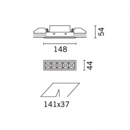 iGuzzini MK49 Laser Blade Recessed LED Source 10W 3000K 920 lm Grey Black
