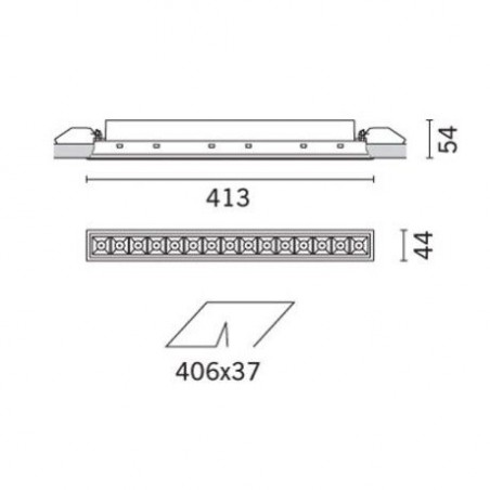 iGuzzini MK55 Laser Blade Recessed LED Source 31W 3000K 2760lm Dimmer Grey Black