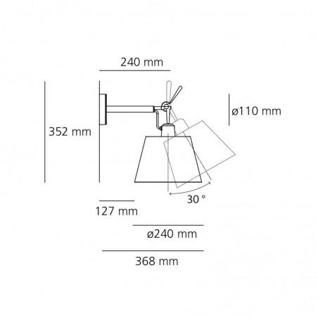 Artemide Tolomeo Parete Wall Adjustable Diffuser 18 in Silk Satin 1183010A+0781040A