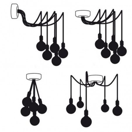Rosetta wall ceiling with 5 output black