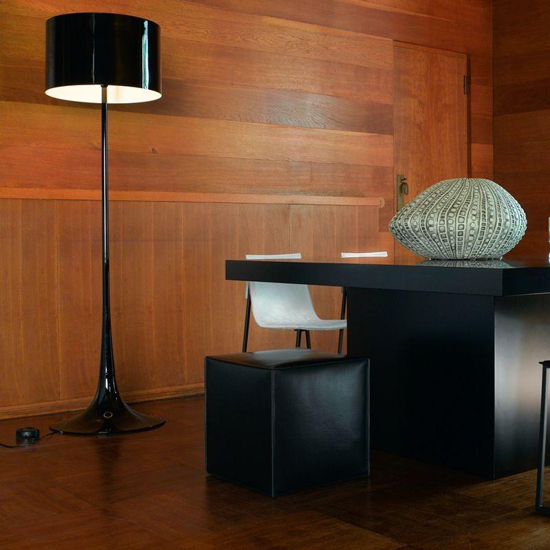 flos spun light f floor lamp shiny black dimmer diffusione luce srl