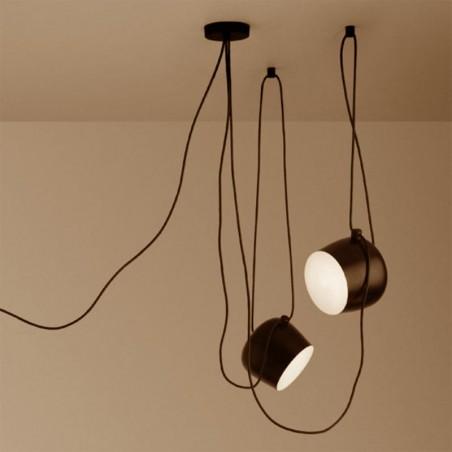 Flos AIM x 2 Light Points LED Suspension Pendant Lamp Bronze Anodized Brown F0090026-F0093026