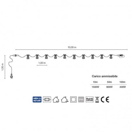 Cordoniera 10 Portalampada E27 10 m Uso Esterno Prolungabile Bianco
