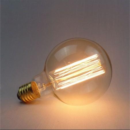 Lampadina Vintage G95 40W globo E27 filamento carbonio