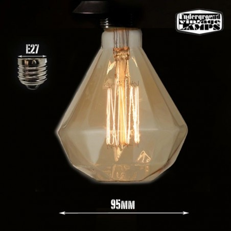 Vintage d95 e27 bulb 40w diamond carbon filament
