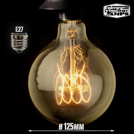 Lampadina vintage g125 40w globo stile e27 filamento carbonio