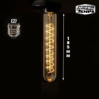 Lampadina Vintage tubo 25W 185mm E27 filamento carbonio