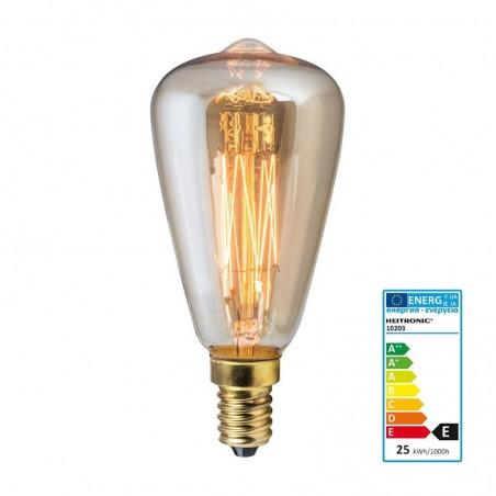 Lampadina vintage d46 40w cono e14 filamento carbonio