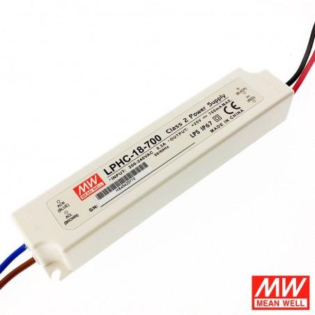 Alimentatore Meanwell LPHC-18-700 18W 6-25V 700ma IP67 LED