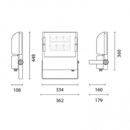 Cariboni NEWTON Grigio Alluminio LED Proiettore Esterno 140W 16200lm 4000K IP66