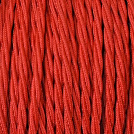 Cavo Elettrico 2X o 3X 10 metri Treccia in Tessuto Colore Rosso