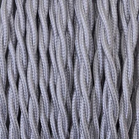 Cavo Elettrico 2X o 3X 10 metri Treccia in Tessuto Colore Argento
